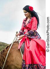 bonito, cigana, cavalo, menina, Montando
