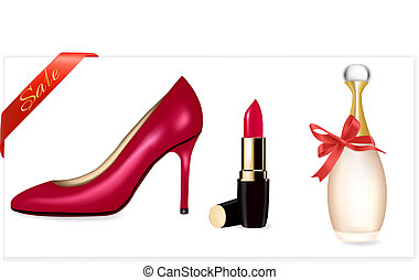 Sexy high heel shoes shoes and lipstick. Vector...