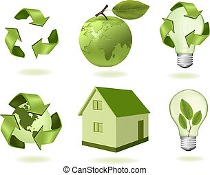 ecology icons - Green apple with world map and big set of...