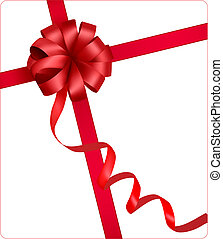 Holiday red bow with a ribbon