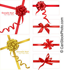 Collection of red bows with ribbons Vector