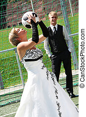 Wedding Day - Bride and Groom in love on wedding day