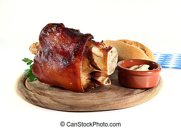 grilled pork hock on a white background
