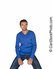 Portrait handsome sexy man blue sweater