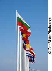 International flags, Nisyros - A row of international flags...