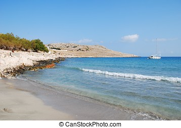 Pondamos beach, Halki - Pondamos beach at Emborio on the...