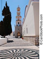 Agios Nikolaos church, Halki - The hoklakia pebble courtyard...
