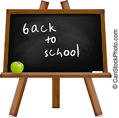 Back to school. Blackboard with easel with text. Vector...