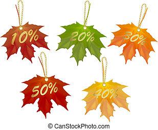 Autumn designed sale cards. Vector illustration.