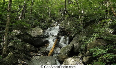 Vermont waterfall - Tall and majestic mountain stream and...