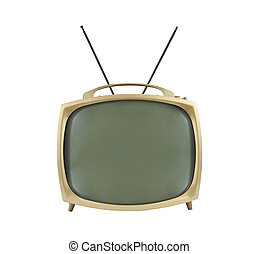 1950's Portable Television with Antennas Up - 1950's...