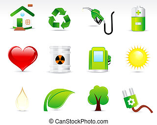 abstract green eco icon set vectot illustration