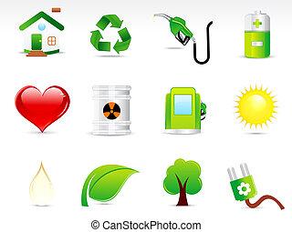 abstract green eco icon set vectot illustration
