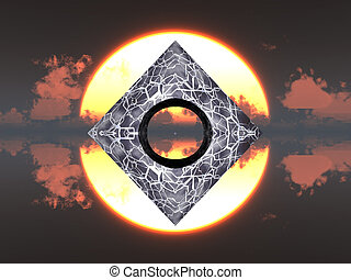 Pyramid on water and sun