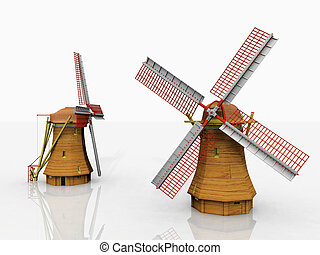 Two windmills on a white background