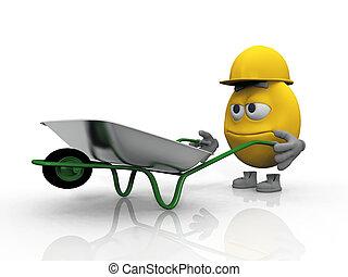 Smiley cartoon with a wheelbarrow