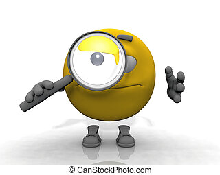 Smiley cartoon with a magnifying glass