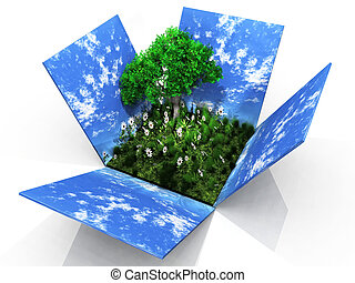 Open sky box with trees