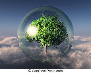 Tree in bubble in the sky