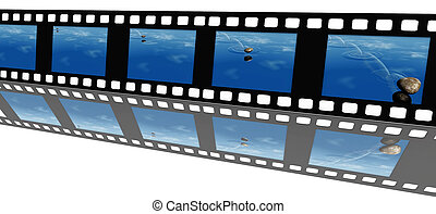 Video filmstrip of skipping a stone