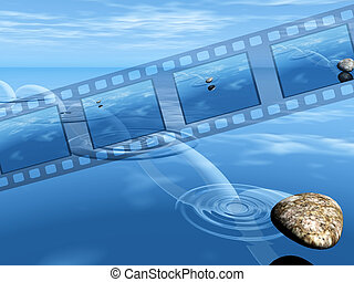 Video filmstrip of rock skipping
