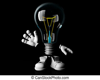 Incandescent bulb cartoon
