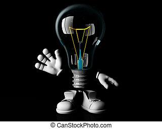 Incandescent bulb cartoon