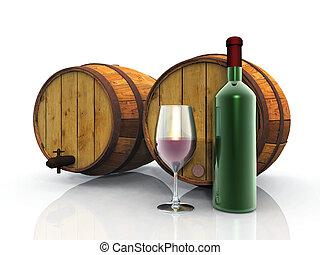 wine, barrels, glass and bottle