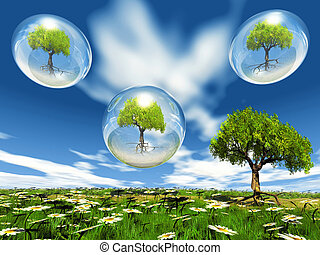 trees in bubbles and naturr