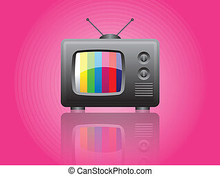 Retro television on pink background, vector illustration