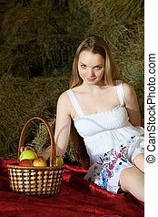 portraite - attractive girl in the hay rural portrait