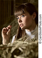portraite - attractive girl in the hay. rural portrait