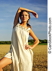 站立, 領域, 女孩, 衣服, 鄉村