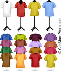 White and color t-shirts on mannequins. Vector illustration....
