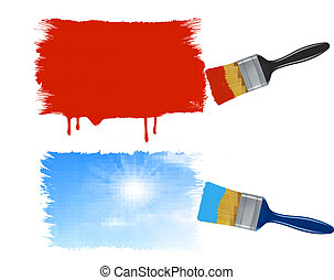 Two paintbrushes painting banners - red paint banner and a...