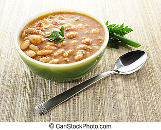 bean soup - a bowl of bean soup
