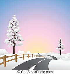 Snow Landscape - A Snow Landscape with Road and Trees