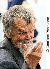 Homeless old man - Funny homeless elderly beggar talking