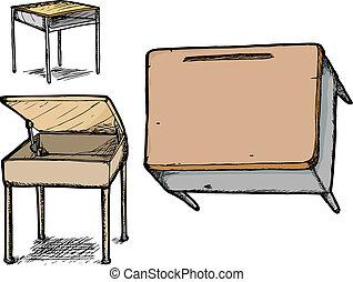 jogo, escola, escrivaninhas