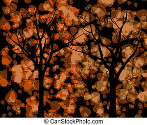 Tree Silhouettes with Autumn Leaves Background VB - Tree...