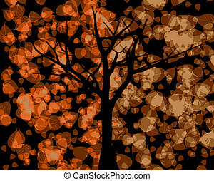 Tree Silhouette with Autumn Leaves Background VB - Tree...