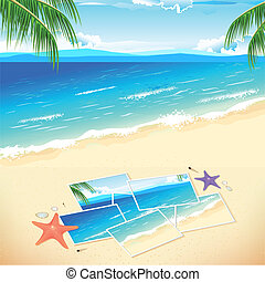 Photo on Beach - illustration of pieces of photograph on sea...