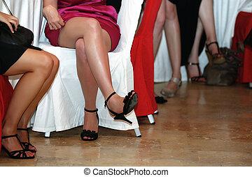 Leggy - Various women's legs during a banquet dinner