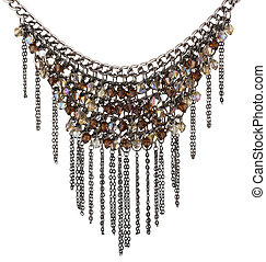 beaded necklace isolated on white