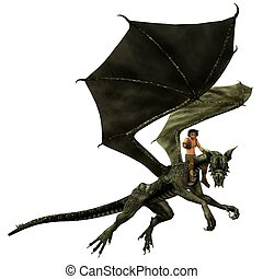 Dragon Rider - Young man riding a dragon, 3d digitally...