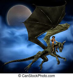 Dragon Rider with Moon and Clouds 1