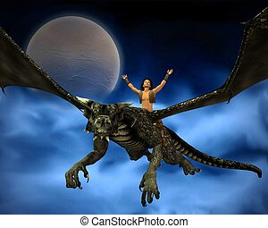 Dragon Rider with Moon and Clouds 2