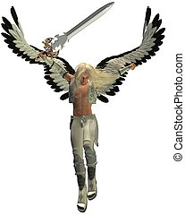 Avenging Angel - Male avenging angel with sword, 3d...
