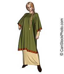 Saxon or Viking Woman in Green - Anglo-Saxon, Viking, or...
