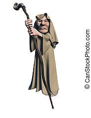 Toon Mystic Druid - Toon mystic druid character in brown...